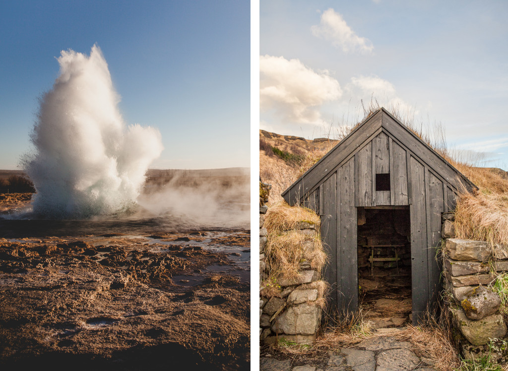 strokkur-geysir-and-turf-roof-islandic-house-skogasafn